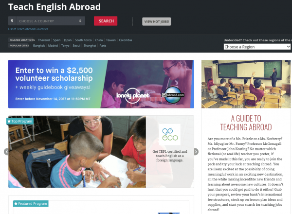 Скриншот сайта Teaching English Abroad