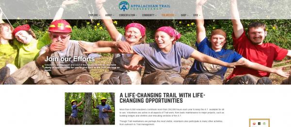 Скриншот сайта Appalachian Trail