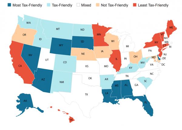 Карта налогового бремени в США