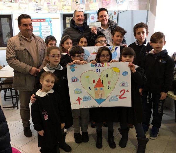 Младшие итальянские школьники держат плакат