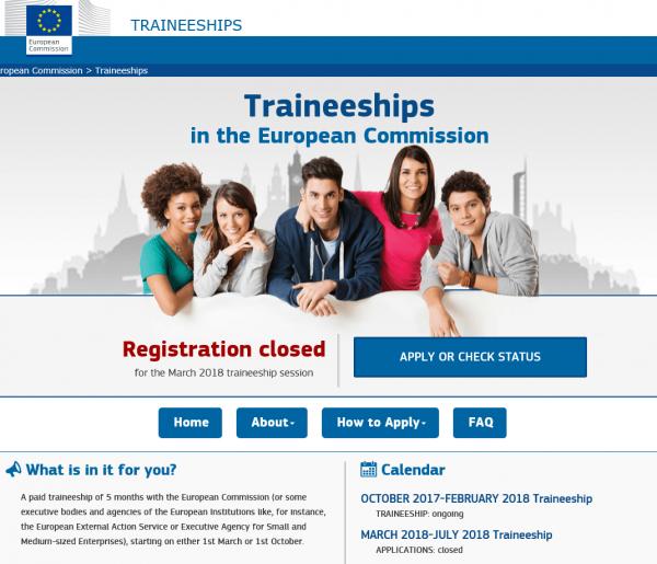 Скриншот сайта Еврокомиссии
