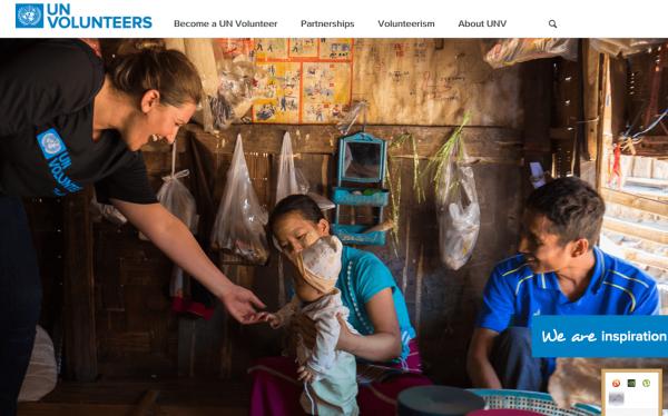 Скриншот сайта UN Volunteers