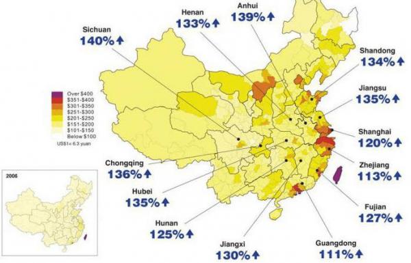 Рост зарплат по областям Китая