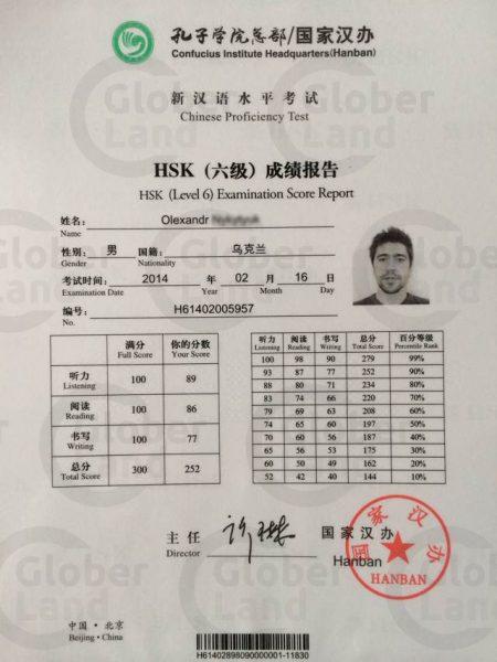 Сертификат HSK