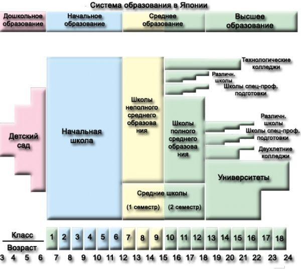 Схема японской образовательной системы