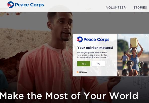 Скриншот сайта Peace Corps