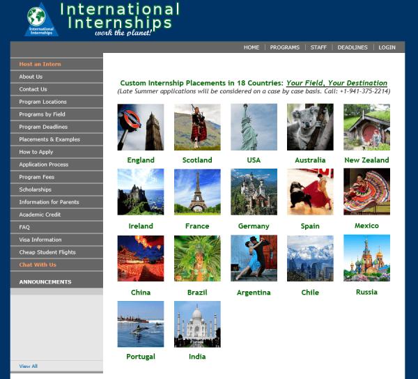 Скриншот сайта International Internships
