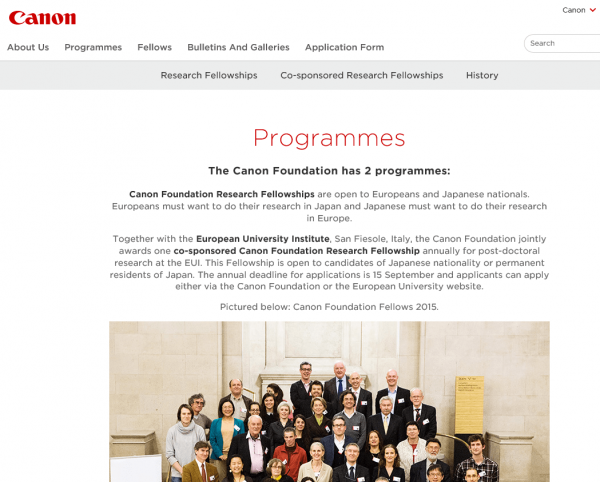 Скриншот сайта Canon