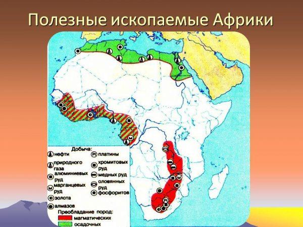 Карта полезных ископаемых Африки