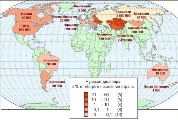 Карта русских диаспор в мире