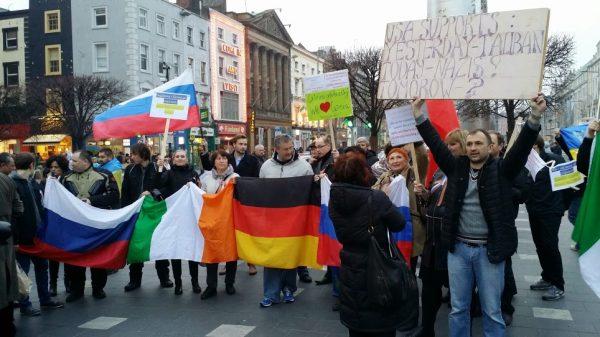 Демонстрация иммигрантов в Дублине
