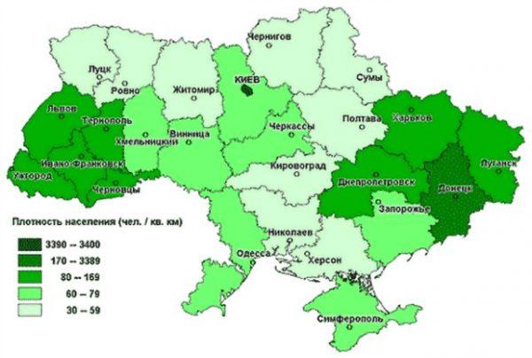 Карта Украины с плотностью населения по регионам