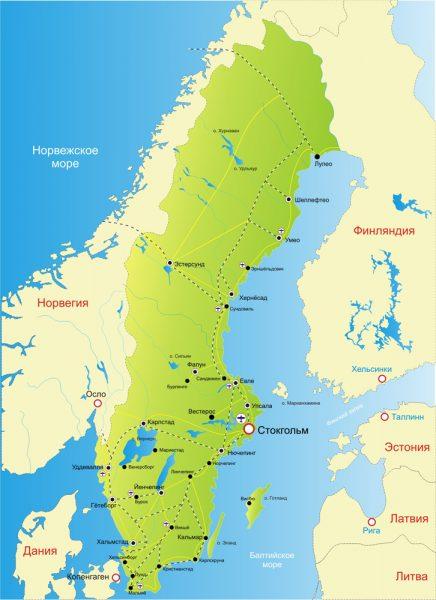 Швеция на карте