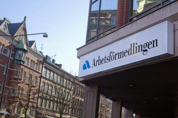 Вывеска службы занятости в Швеции