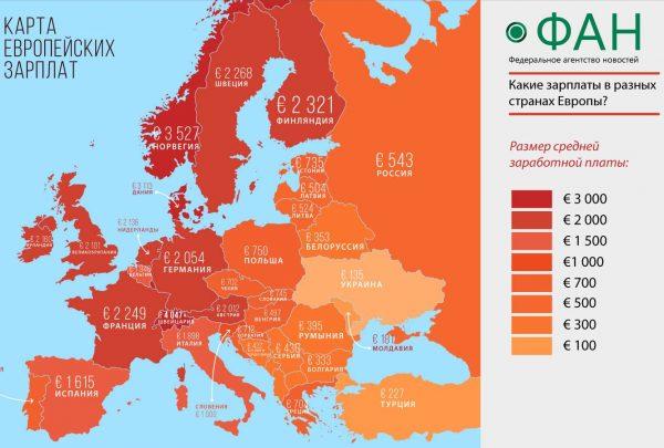 Карта зарплат в Европе