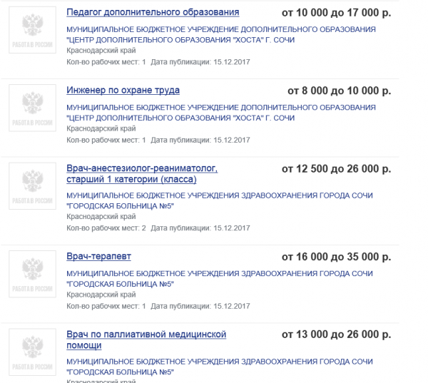 Скриншот портала занятости