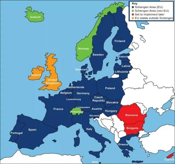 Карта Шенгенской зоны