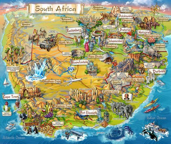 Схематическая карта ЮАР