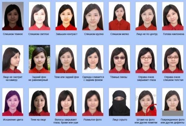 Неправильно оформленные фото на визу
