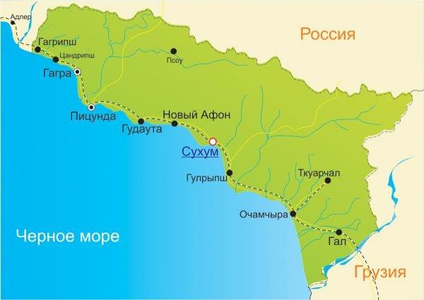 Географическая карта Абхазии