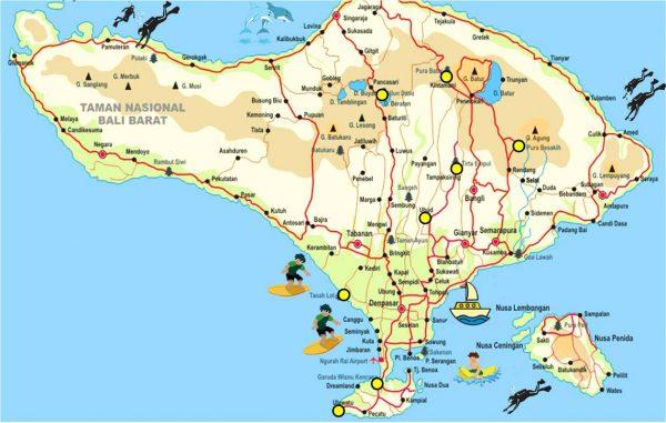 Карта острова Бали