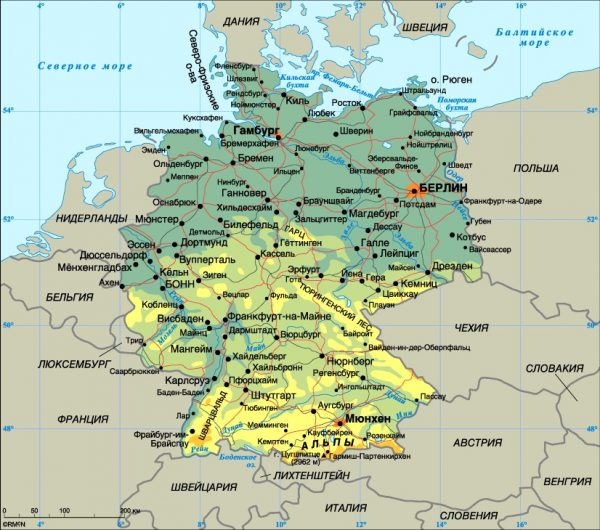 Карта Германии и её границ с другими странами