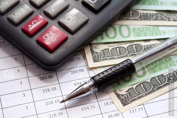 Калькулятор, ручка, деньги