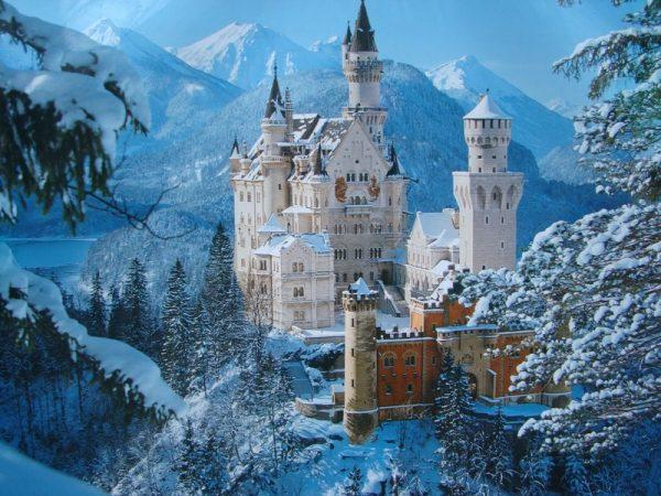 Замок в Германии зимой