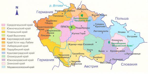 Административная карта Чехии