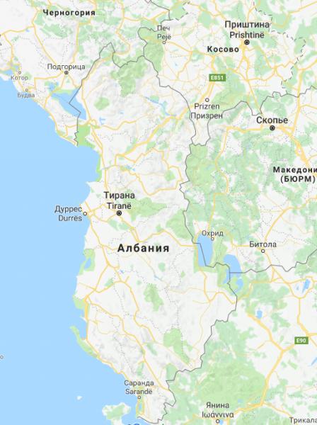 Географическое положение Албании