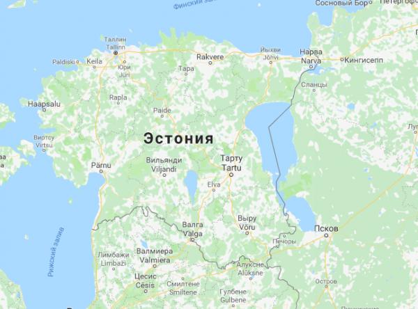 Эстония на карте