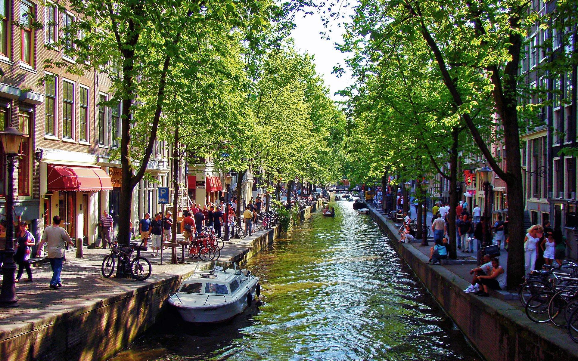 Обои набережная, освещение, нидерланды, красота, канал. Города foto 10