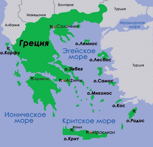 Карта географического расположения Греции