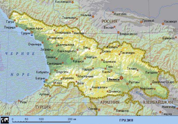 Карта расположения Грузии