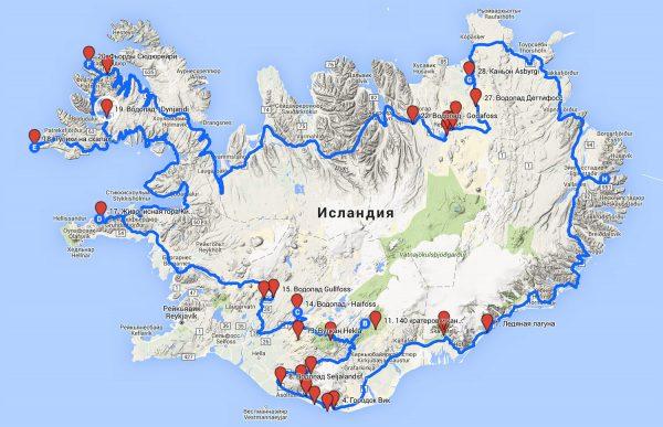 Карта Исландии с вариантом маршрута вокруг острова