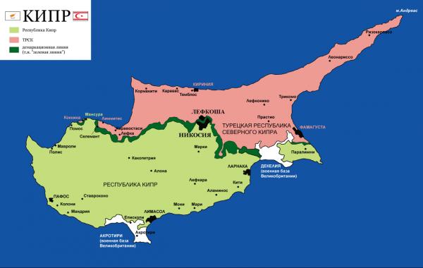 Карта Кипра и расположение городов