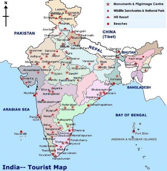 Карта основных достопримечательностей Индии