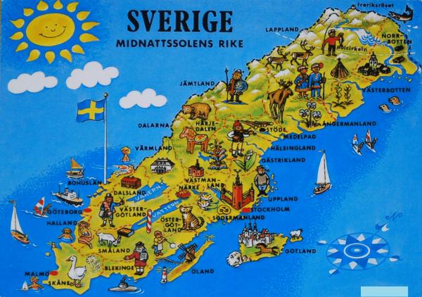 Туристическая карта Швеции