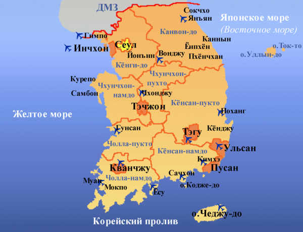 Карта территории Кореи