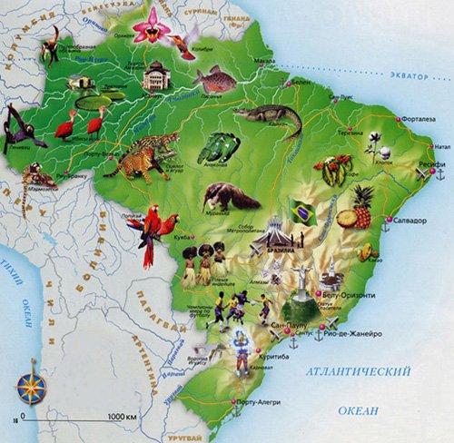 Карта туристических объектов Бразилии