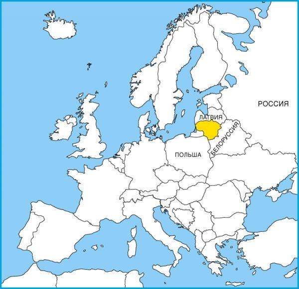 Литва на карте Европы