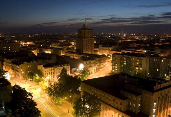 Ночной вид на город Лодзь