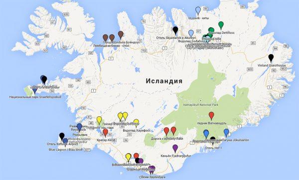 Основные достопримечательности Исландии на карте