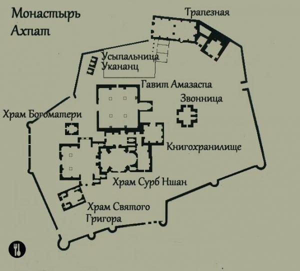 Схема Ахпатского монастырского комплекса