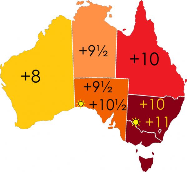 Схема часовых поясов Австралии