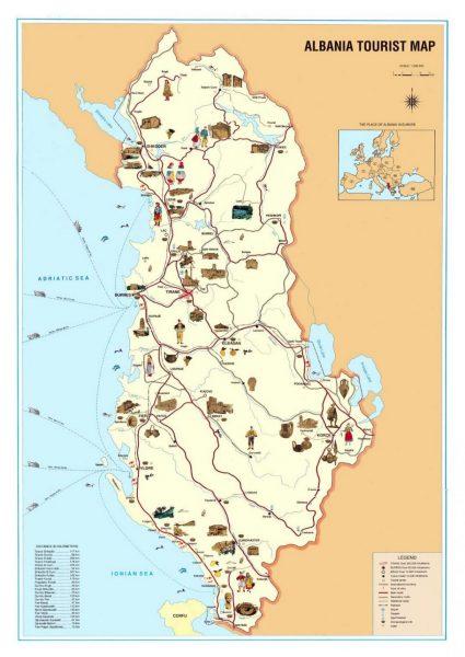 Туристическая карта Албании