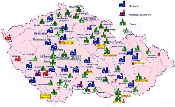 Туристическая карта Чехии