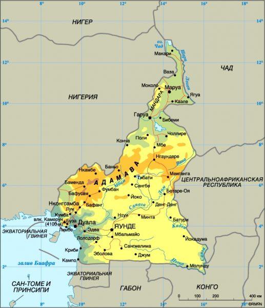 Туристическая карта Камеруна