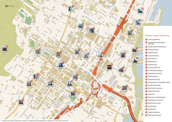 Туристическая карта Монреаля