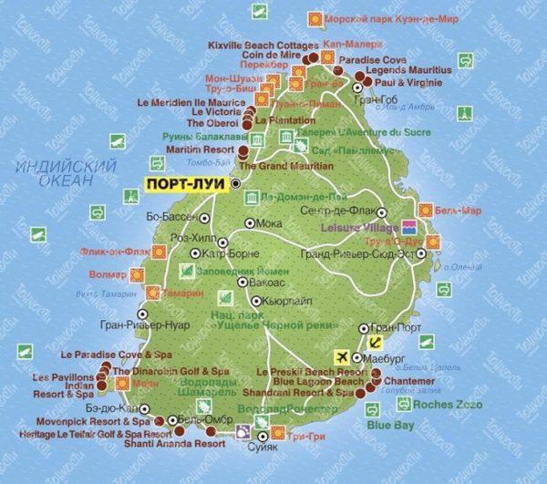 Туристическая карта Маврикия